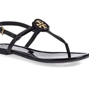 Tory Burch Dillan Black paten Leather Sandal